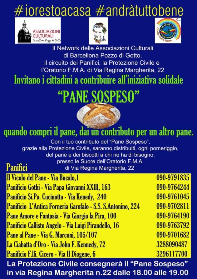 """Barcellona PG. Al via """"Pane Sospeso"""", iniziativa solidale del Network delle Associazioni Culturali"""