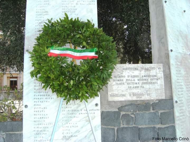 Barcellona PG. L'Amministrazione Comunale onora le vittime del bombardamento aereo del 12 agosto 1943